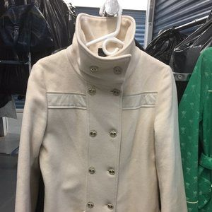 Off White/Ivory Wool Cashmere Mackage Pea Coat L
